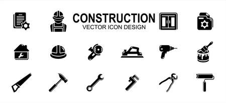 Simple Set of home job build construction Related Vector icon user interface graphic design. Contains such Icons as job description, folder, paint, helmet, hammer, planer, saw, wrench, drill and more 向量圖像