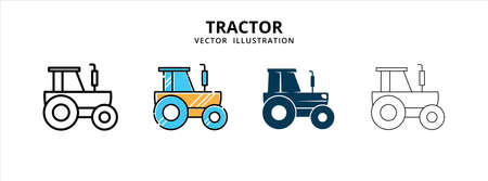 various farm agriculture tractor vector icon logo illustration design template set