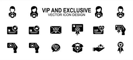 Simple Set of vip and exclusive Related Vector icon user interface graphic design. Contains such Icons as very important person, exclusive, primary, special, service, slot, room, invitation, starred