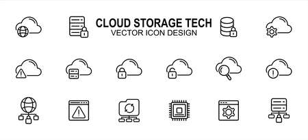 Simple Set of cloud storage web hosting Related Vector icon user interface graphic design. Contains such Icons as disk, management, network, setting, lock, magnifier glass, processor and more