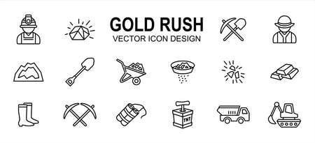 Simple Set of gold rush mining Related Vector icon user interface graphic design. Contains such Icons as gold nugget, spade, worker, job, mountain, wheelbarrow, pan, panning, dynamite, truck, boots 向量圖像