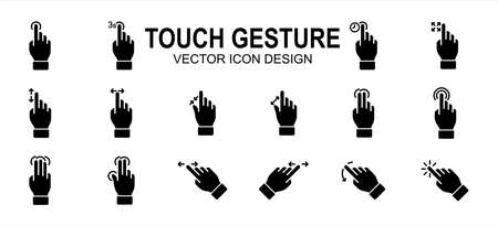 Simple Set of finger touch gesture Related Vector icon user interface graphic design. Contains such Icons as touch, gesture, navigation, touchscreen, finger tip, pinch, control, press, slide, tap,