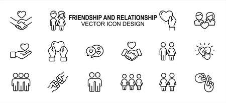 Simple Set of friendship and relationship Related Vector icon user interface graphic design. Contains such Icons as handshake, holding hand, giving love, receiving, chat, sisterhood, brotherhood,