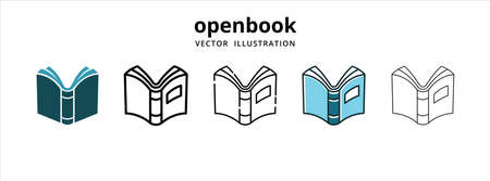 open book symbol of knowledge vector logo illustration design template set