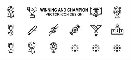 Simple Set of winning champion Related Vector icon user interface graphic design. Contains such Icons as win, victory, champ, medal, trophy, star, starred, certification, certificate, award, podium 向量圖像