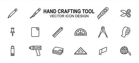 Simple Set of creativity hand crafting tools Related Vector icon user interface graphic design. Contains such Icons as pencil, blade pen, scissor, pin, ruler, board, tape, glue gun, yarn, paper