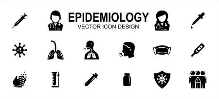 Simple Set of epidemiology contagious disease Related Vector icon user interface graphic design. Contains such Icons as syringe, doctor, viral, virus, lunge, mask, cough, washing hand, thermometer