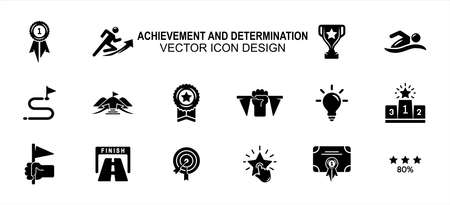 Simple Set of achievement and determination Related Vector icon user interface graphic design. Contains such Icons as effort, goal, trophy, finish line, podium, certificate and more