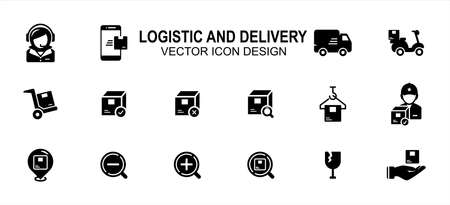 Simple Set of logistic, delivery, shipping and trucking Related Vector icon user interface graphic design. Contains such Icons as customer service, truck, box, deliveree, weighing, courier, tracking