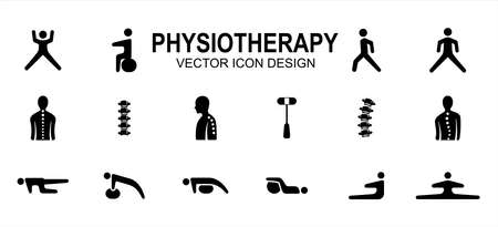 Simple Set of physiotherapy and chiropractic Related Vector icon user interface graphic design. Contains such Icons as stretching, walking, backbone, hammer, lordosis, scoliosis, push up, sit up