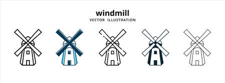 various typical netherlands dutch windmill farm vector logo illustration design template set 向量圖像