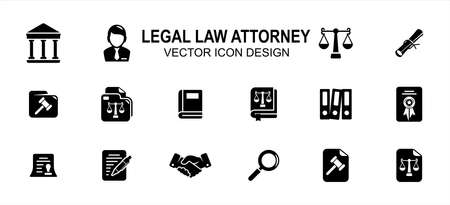 Simple Set of legal law attorney Related Vector icon user interface graphic design. Contains such Icons as court, judge, justice scale, scroll, constitution, hammer, handshake, book, writing, 向量圖像