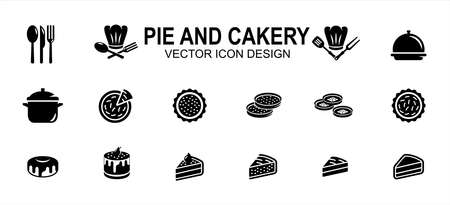 Simple Set of pie and cakery Related Vector icon user interface graphic design. Contains such Icons as pie, sliced cake, pudding, dessert, chef hat, spoon, fork, knife,