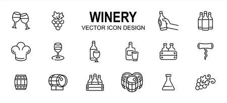 Simple Set of winery drink Related Vector icon user interface graphic design. Contains such Icons as wine, grape, beverage, premium, distillery, formulation, alcohol, fermentation, aging, bottle 向量圖像