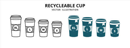 various size of disposable paper coffee cup with lid vector logo illustration design template set 向量圖像