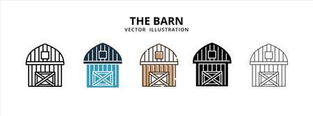 various barn farm vector logo illustration design template set Иллюстрация