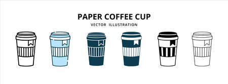 various paper disposable coffee cup with lid vector logo illustration design template set