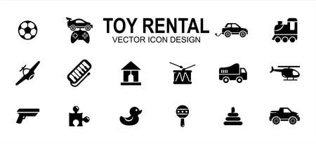 Simple Set of toy rental service Related Vector icon user interface graphic design. Contains such Icons as ball, remote control car, buggy, aeroplane, helicopter, gun, puzzle, duck, truck, drum 向量圖像