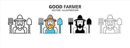 friendly smile bearded good farmer vector logo illustration design template set