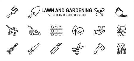 Simple Set of lawn and gardening maintenance Related Vector icon user interface graphic design. Contains such Icons as fork, spade, plant, wheelbarrow, fence, grass mower, seed, tree, axe, saw,