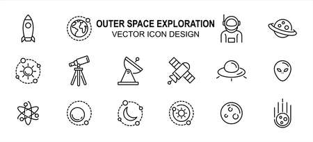 Simple Set of outer space exploration Related Vector icon user interface graphic design. Contains such Icons as rocket, satellite, orbit, solar system, periscope, alien, ship, revolution track, 向量圖像