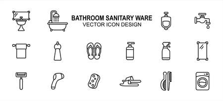 Bathroom and sanitary part related vector icon user interface graphic design. Contains such Icons as washtub, bathtub, urinary, toilet paper, sandal, flip flop, liquid soap, sprayer, mirror, razor