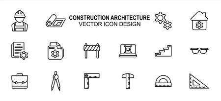 Construction architecture related vector icon user interface graphic design. Contains such icons as worker, labor, blueprint, gear, setting symbol, construction file, laptop, bag, ruler, triangle 向量圖像