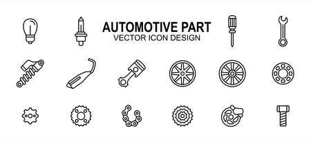 Automotive automobile and motorcycle part related vector icon user interface graphic design. Contains such Icons as light bulb, screwdriver, wrench, shock breaker, suspension, muffler, exhaust 向量圖像