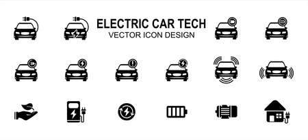 Electric vehicle car technology related vector icon user interface graphic design. Contains such icons as car, electric chord, charging, battery, low, fully charged, sensor, green energy, motor 向量圖像