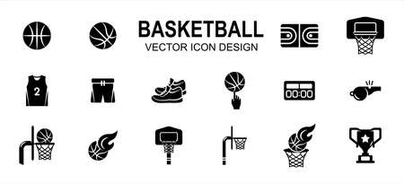 basketball sport related vector icon user interface graphic design. Contains such Icons as basket ball, field, floor, court, uniform, pant, snicker, shoes, score board, fingering, trophy, goal