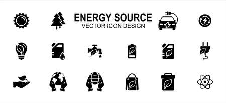 Energy miscellaneous source related vector icon user interface graphic design. Contains such icons as solar, tree, electric, renewable electric, water, fossil, oil, nature, earth, nuclear, compost