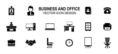 Business finance and office related vector icon user interface graphic design. Contains such Icons as identity card, person, computer desktop, front officer, receptionist, handshake, boss chair, clock