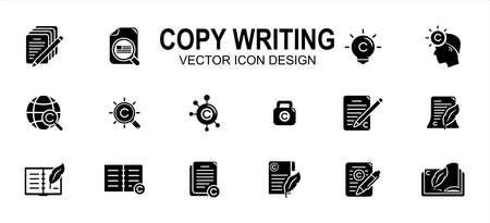 Copy writing and publisher author related vector icon user interface graphic design. Contains such icons as text, write, pencil and paper, copyright, light bulb, quill, book, international,network 向量圖像