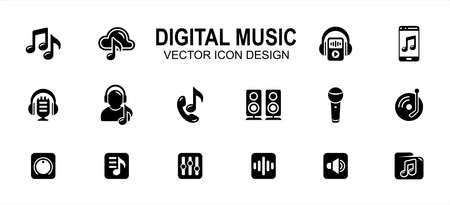 digital streaming music and podcast related vector icon user interface graphic design. Contains such icons as music player, cloud storage, folder, phone, listening, headset, microphone, equalizer