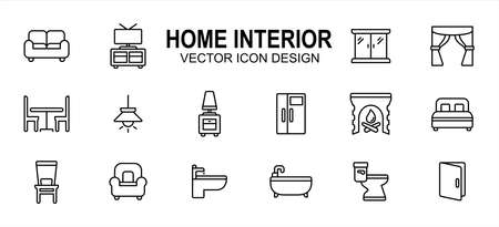 home interior ware and furniture related vector icon user interface graphic design. Contains such icons as sofa, cabinet, wardrobe, curtain, dinning table, lamp cover, refrigerator, fire place, bed