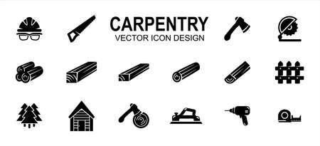 Carpentry carpenter wood workshop related vector icon user interface graphic design. Contains such icons as safety helmet, goggle, saw, axe, cut off machine, wood log, lumber, timber, tree, drill