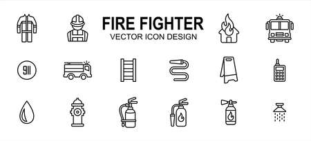 fire fighter department related vector icon user interface graphic design. Contains such icons as office, person, uniform, safety, burning house, fire fighter truck, 911 sign, ladder, water hose 向量圖像