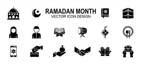 Islam Ramadan month theme related vector icon user interface graphic design. Contains such icons as mosque, moon, star, holy quran, mecca, ka'bah, fasting, drum, giving, pray, prayer, handshake