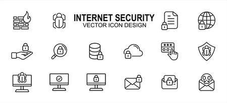 Internet security and safety related vector icon user interface graphic design. Contains such icons as fire wall, bug, document, lock, disc, cloud, web, screen, mail, scam, malware, virus, password
