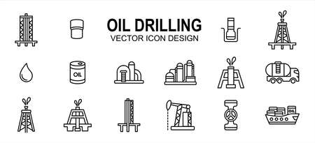 Oil drilling industry related vector icon user interface graphic design. Contains such icons as rig, tower, bor, drill, driller, oil, tank, distillery, pump, truck, pipe, spurt, squirt, valve,