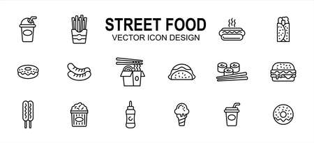 Street food culinary related vector icon user interface graphic design. Contains such icons as drink, beverage, fries, hot dog, taco, kebab, donuts, sausage, noodle, sushi, burger, ice cream, soda
