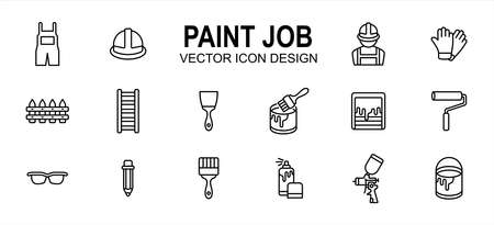 Paint job construction related vector icon user interface graphic design. Contains such icons as wear pack, uniform, helmet, labor, worker, glove, ladder, hand brush, roller, mixer, sprayer, bucket 向量圖像