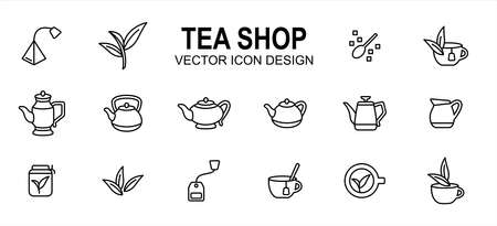 luxury tea shop drink related vector icon user interface graphic design. Contains such icons as tea bag, tea leaf, sugar, brew, brewing, tea cup, assorted teapot, extraction, herb, 向量圖像