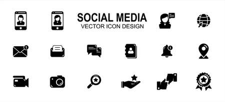 social media platform related vector icon user interface graphic design. Contains such icons as profile, picture, photo, share, meet, meeting, virtual, friend, messaging, interaction, life, internet 向量圖像