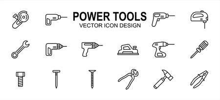 construction Power tools related vector icon user interface graphic design. Contains such icons as grinder, driller, impact drill, demolition, jig saw, wrench, cordless, plane, planer, hammer, plier 向量圖像