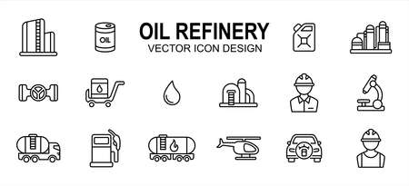 Oil drilling refinery industry related vector icon user interface graphic design. Contains such icons as rig, tower, drill, driller, oil, tank, distillery, pump, truck, pipe, spurt, squirt, valve,
