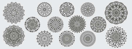 assorted mandala art pattern vector template design bundle for paper cutting, greeting card, sublimation printing and more 向量圖像