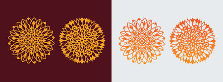 mandala sun flower theme art pattern vector template design for paper cutting, greeting card, sublimation printing and more