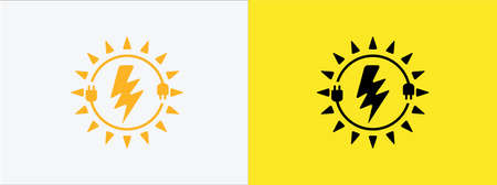solar electric power inside cable chord vector icon logo graphic design. electrical spark and sun symbol combination for renewable energy source 矢量图像