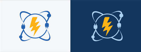 nuclear atom electric power technology vector icon logo design. atomic electrical science research design sign 矢量图像